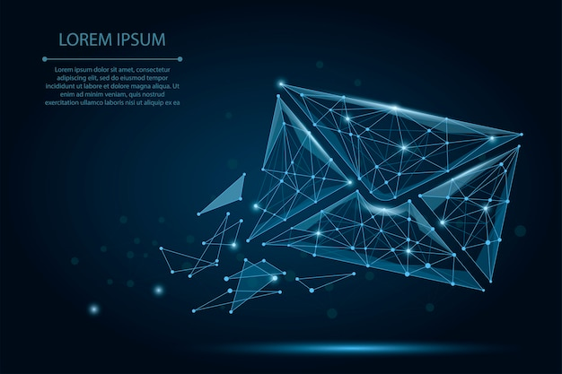 Abstract mash line and point mail envelope Premium Vector