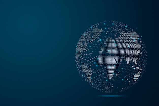 Abstract mash line and point scales on dark background with map world representing the global . wire frame 3d mesh polygonal network line, design sphere, dot and structure. Premium Vector