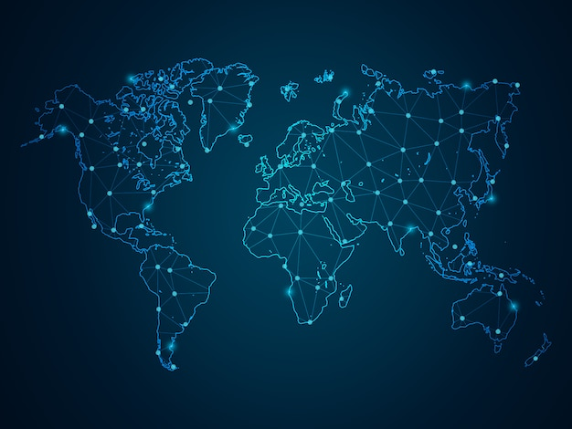 Abstract mash line and point scales on dark background with map world. wire frame 3d mesh polygonal network line, design sphere, dot and structure. Premium Vector