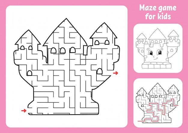 Абстрактный лабиринт. королевский замок игра для детей. пазл для детей. Premium векторы