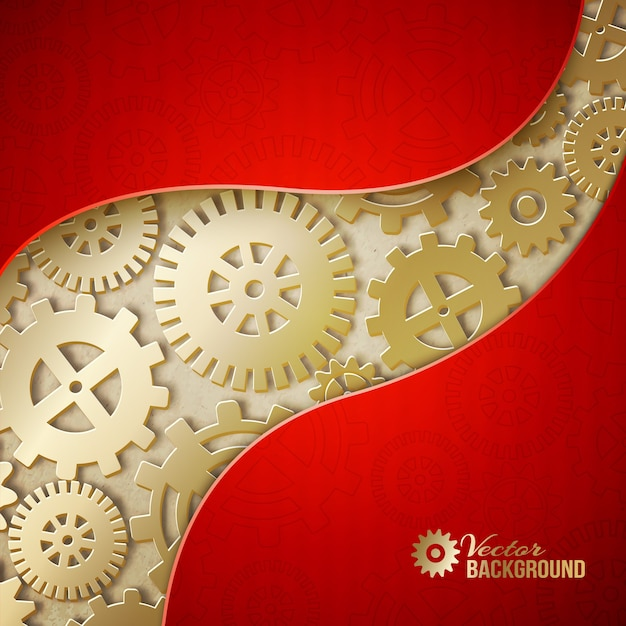 Abstract mechanical gears background. Free Vector