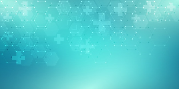 Abstract medical background with hexagons pattern. concepts and ideas for healthcare technology, innovation medicine, health, science and research. Premium Vector