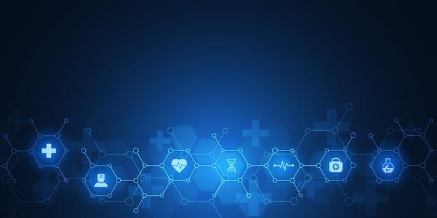 アイコンとシンボルの抽象的な医療の背景。ヘルスケア技術、イノベーション医学、健康、科学、研究のコンセプトとアイデアを備えたテンプレート。 Premiumベクター