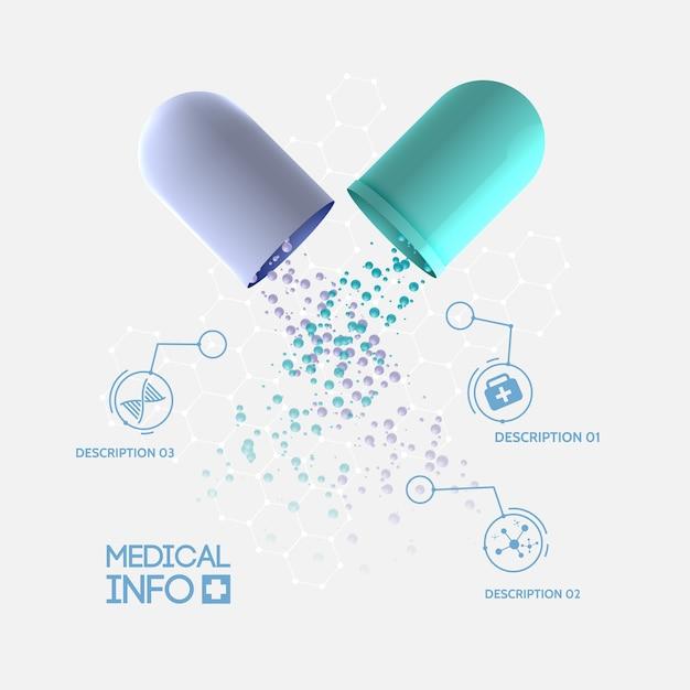 Абстрактная медицина инфографическая концепция с медицинской открытой капсулой, три варианта и изолированные значки Бесплатные векторы