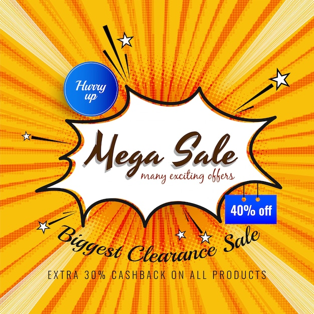 Abstract mega sale advertising bright background Free Vector