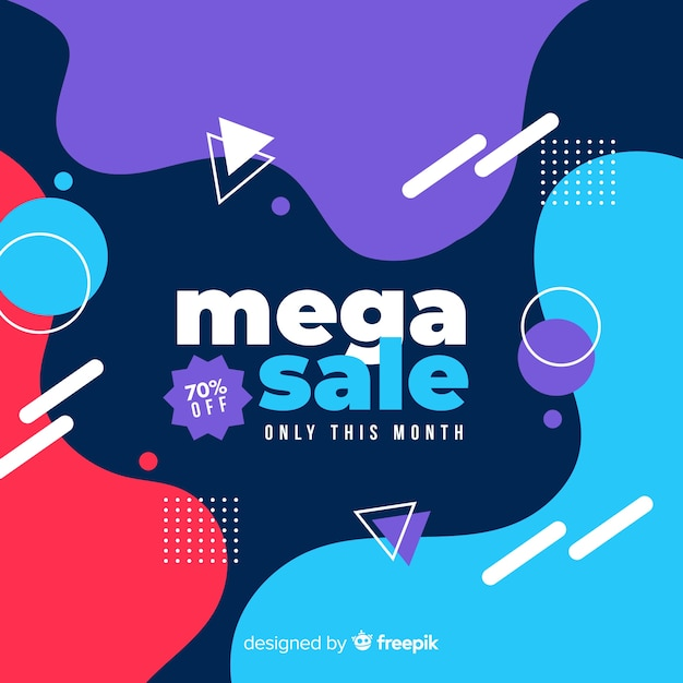Abstract mega sale background with memphis elements Free Vector
