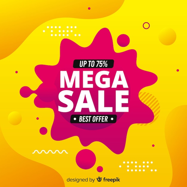 Abstract mega sale flud background Free Vector