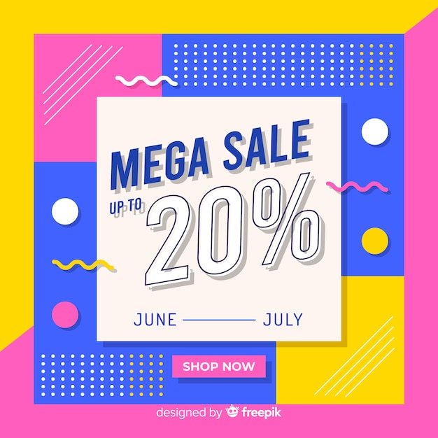 Abstract mega sale memphis background Free Vector