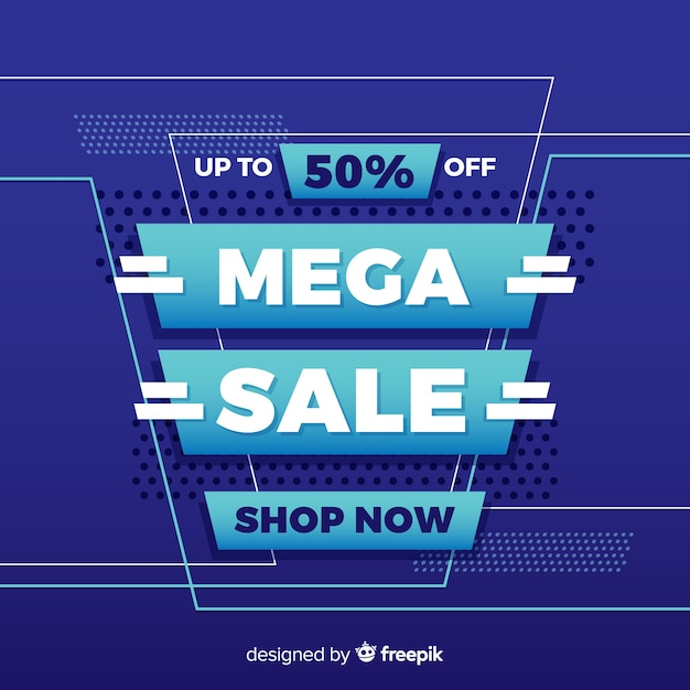 Abstract mega sale promotion banner Free Vector