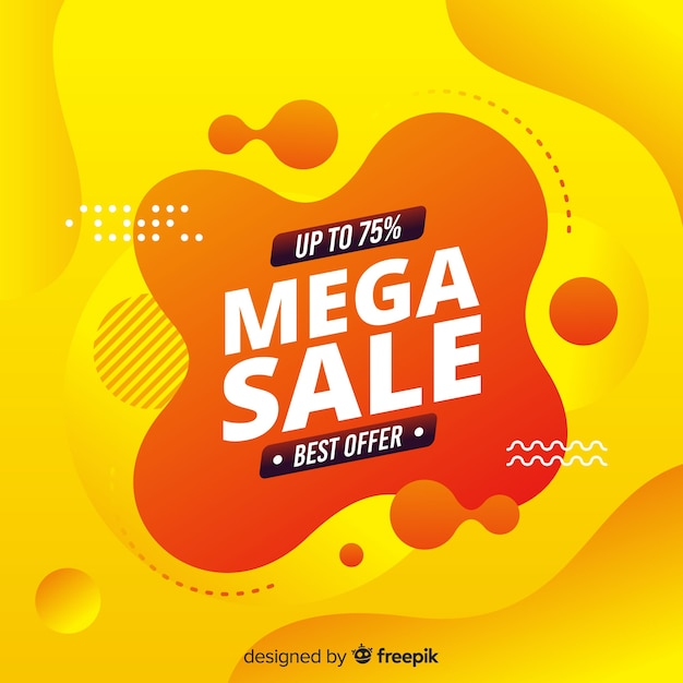 Abstract mega sale yellow background Free Vector