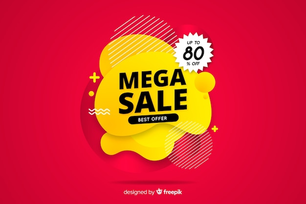 Abstract mega sales background flat design Free Vector