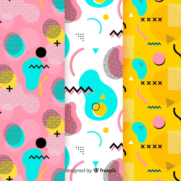 Abstract memphis avocado pattern design Free Vector