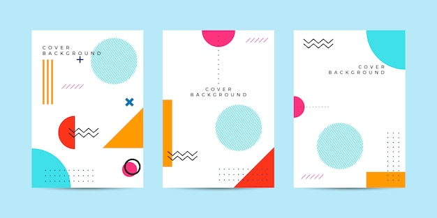 Abstract memphis cover background Premium Vector