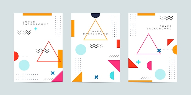 Abstract memphis cover Premium Vector
