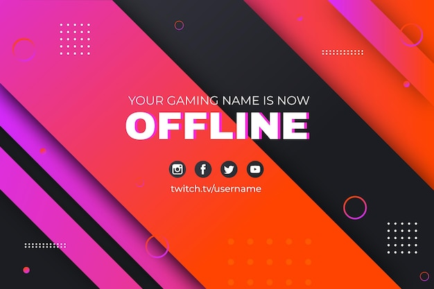 Abstract memphis offline twitch banner Free Vector