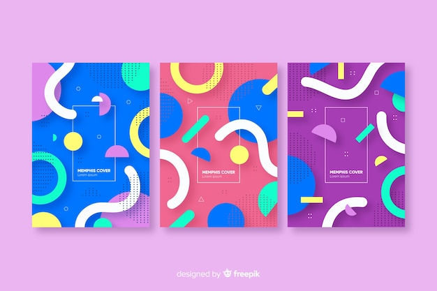 Abstract memphis style cover collection Free Vector