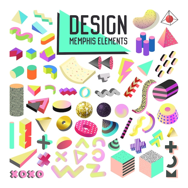 Abstract memphis style design elements set. geometric shapes collection with 3d forms and fluid Premium Vector