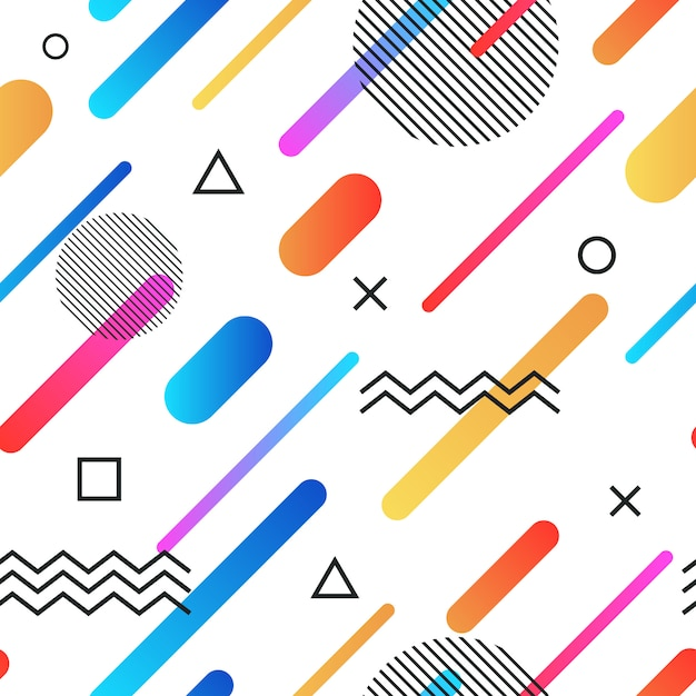 Abstract memphis style retro seamless background with multicolored simple geometric shapes Premium Vector