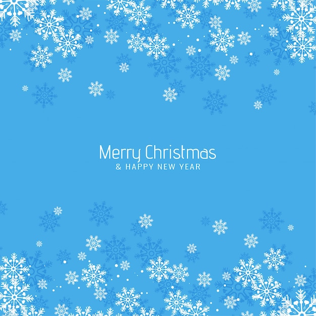 Abstract merry christmas greeting blue background Free Vector