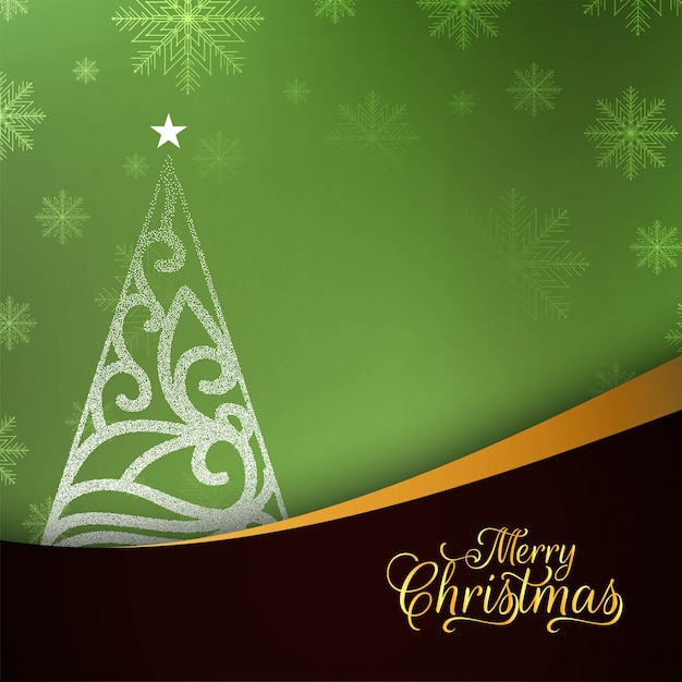Abstract merry christmas stylish green background Free Vector