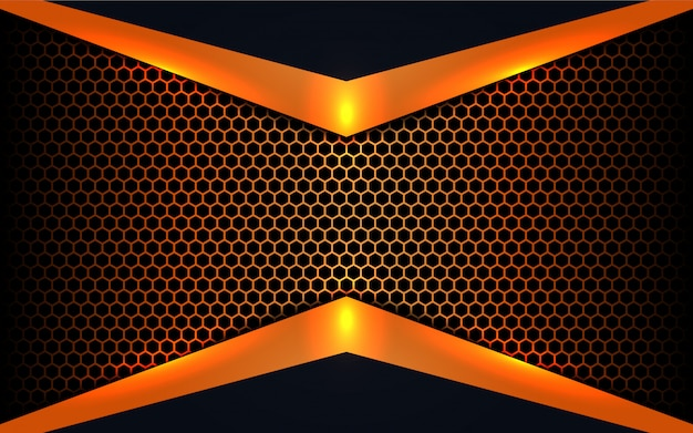 Abstract metal shapes on hexagon background Premium Vector