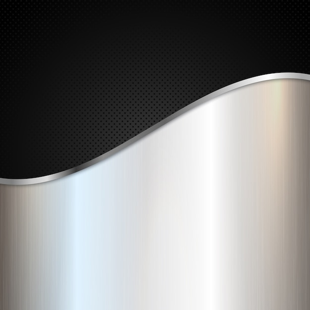 Abstract metallic background with silver shiny metal and black perforated design Free Vector