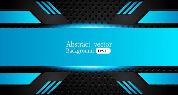 Abstract metallic blue black background Premium Vector