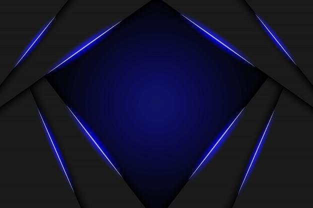 Abstract metallic blue black frame layout modern tech design template background Premium Vector