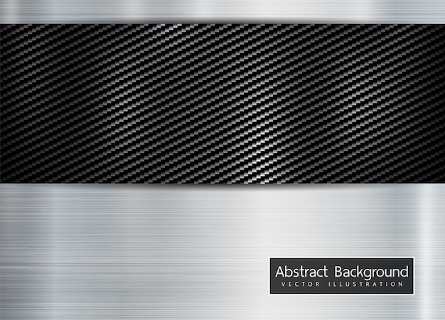Abstract metallic frame on carbon kevlar background Vector
