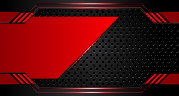 Abstract metallic red black frame layout design tech innovation concept background Premium Vector