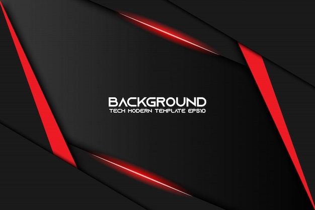 Abstract metallic red black frame layout modern tech design template background Premium Vector