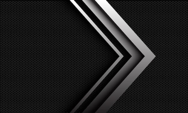 未来的な技術の背景に抽象的なメタリックシルバーの光沢のある矢印の方向 Premiumベクター