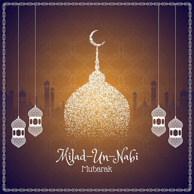 Abstract milad un nabi islamic greeting card Premium Vector