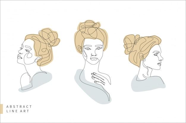 Абстрактное минимальное лицо линии искусства набор. женщина голова в профиль и спереди. нарисованная рукой иллюстрация дизайна логотипа моды. Premium векторы