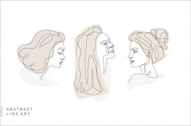 Abstract minimal face line art set. woman head in profile. hand drawn fashion logo design illustration. Premium Vector