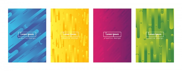 Abstract minimal geometric gradient cover background template set Premium Vector