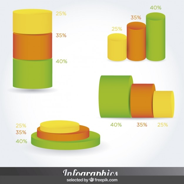 Abstract minimal infographic design on cylinder style Free Vector