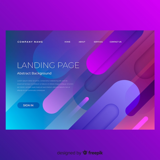 Abstract minimal landing page template Free Vector