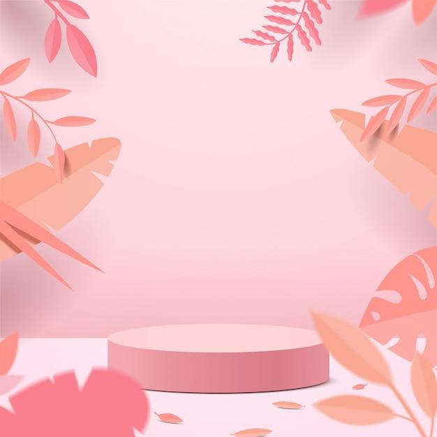 기하학적 형태와 추상 최소한의 장면. 종이 잎 분홍색 배경에서 제품에 대 한 실린더 연단 디스플레이 또는 쇼케이스 이랑. 프리미엄 벡터