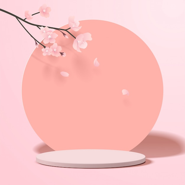 기하학적 형태와 추상 최소한의 장면. 종이 사쿠라 꽃과 분홍색 배경에 제품에 대 한 실린더 연단 표시 또는 쇼케이스 이랑. 프리미엄 벡터