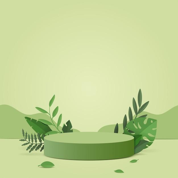 기하학적 형태와 추상 최소한의 장면. 녹색 식물 잎 자연 녹색 배경에서 실린더 연단. 프리미엄 벡터
