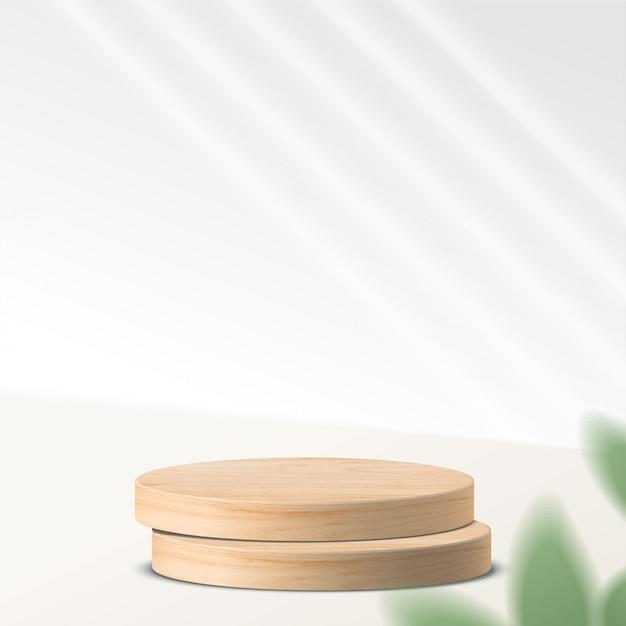 기하학적 형태와 추상 최소한의 장면. 나뭇잎과 흰색 배경에 실린더 나무 연단. 제품 프리젠 테이션, 모의, 화장품, 연단, 무대 받침대 또는 플랫폼을 보여줍니다. 3d 프리미엄 벡터
