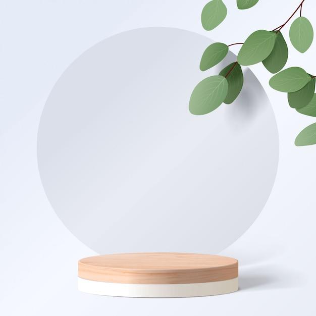 Абстрактная минимальная сцена с геометрическими формами. цилиндр деревянный подиум в белом фоне с листьями. презентация продукта. подиум, пьедестал или перрон. 3d Premium векторы