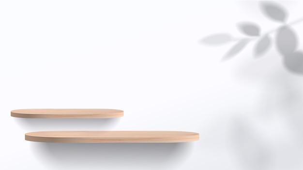 기하학적 형태의 추상 최소한의 장면. 잎 흰색 연단. 제품 프레젠테이션, 화장품 디스플레이, 연단, 무대 받침대 또는 플랫폼을 보여줍니다. 프리미엄 벡터