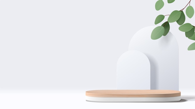 Abstract minimal scene with geometric forms. white podium with leaves. product presentation, show cosmetic product display, podium, stage pedestal or platform. Premium Vector