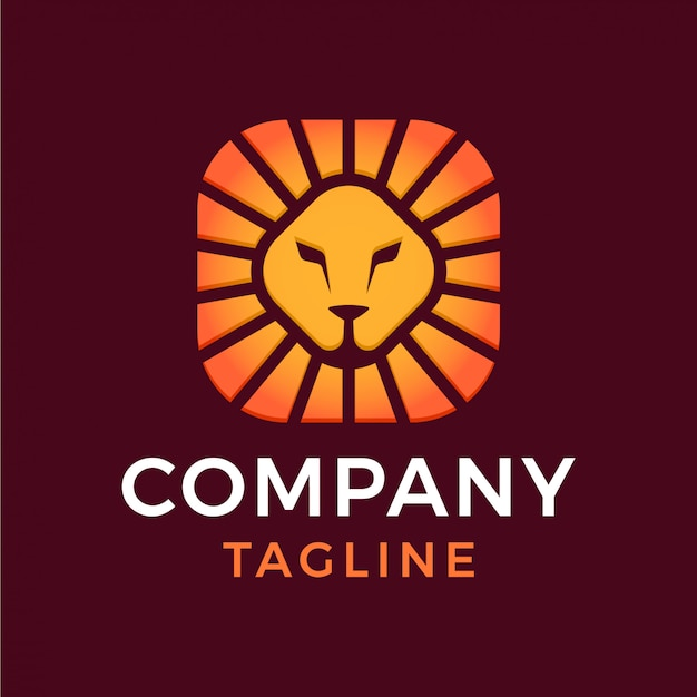 Абстрактный минимальный квадратный щит голова льва солнце 3d градиент логотип Premium векторы