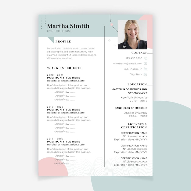 Abstract minimalist medical resume Free Vector