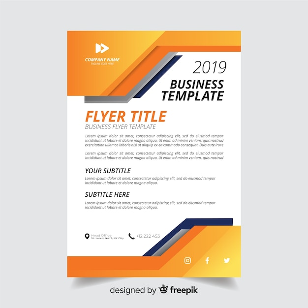 Abstract minimalistic business flyer template Free Vector