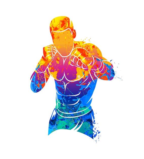 Abstract mixed martial arts fighter from splash of watercolors. illustration of paints. Premium Vector