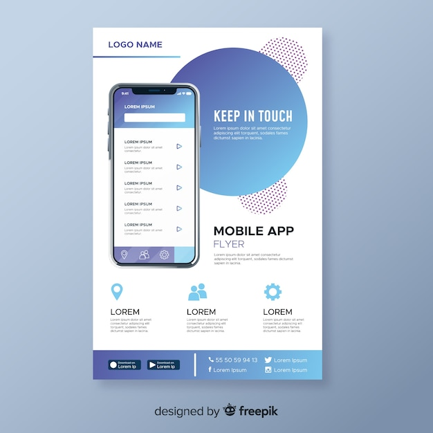Abstract mobile app flyer Free Vector